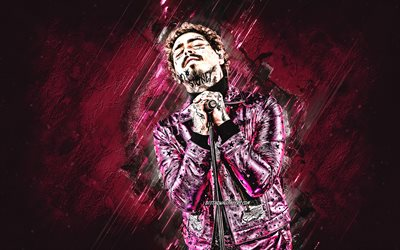 Post Malone, Austin Richard Post, american singer, portrait, purple stone background, creative art