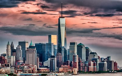 One World Trade Center, kväll, sunset, New York, En WTC, stadsbilden, moderna byggnader, USA