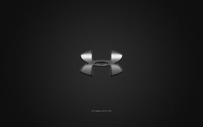 Under Armour logo, metal emblem, apparel brand, black carbon texture, global apparel brands, Under Armour, fashion concept, Under Armour emblem