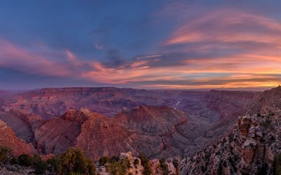 Navajo Point, Grand Canyon, evening, sunset, red mountains, Arizona, mountain landscape, USA