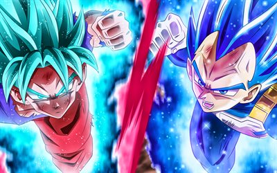 Goku vs Vegeta, 4k, battle, DBS characters, Dragon Ball, warrior, Dragon Ball Super, Son Goku, Vegeta, DBS, artwork, Goku DBS, Vegeta DBS