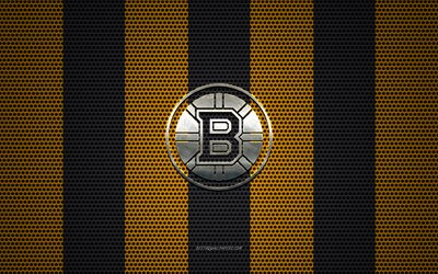 Boston Bruins logo, American hockey club, metal emblem, yellow-black metal mesh background, Boston Bruins, NHL, Boston, Massachusetts, USA, hockey