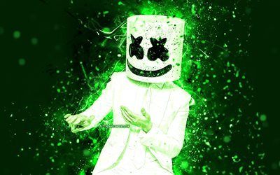 4k, Marshmello, dance, green neon lights, music stars, Christopher Comstock, american DJ, Marshmello 4K, superstars, creative, DJ Marshmello, DJs