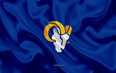 Los Angeles Rams new logo, blue silk flag, NFL, american football, new emblem, USA, Los Angeles Rams, Rams new 2020 logo, silk texture