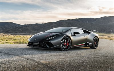 Lamborghini Huracan Performante, 2020, VF Engineering, matte black sports coupe, tuning, exterior, new black Huracan, italian sports cars, Lamborghini