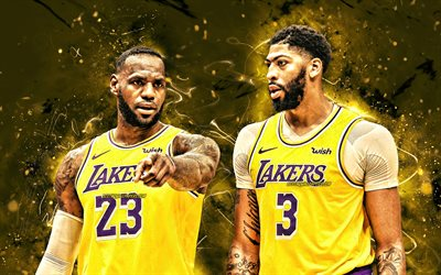 Lebron James and Anthony Davis, 2020, Los Angeles Lakers, 4k, NBA, basketball stars, Anthony Marshon Davis Jr, yellow neon lights, basketball, LeBron Raymone James, LA Lakers, creative, Lebron James, Anthony Davis