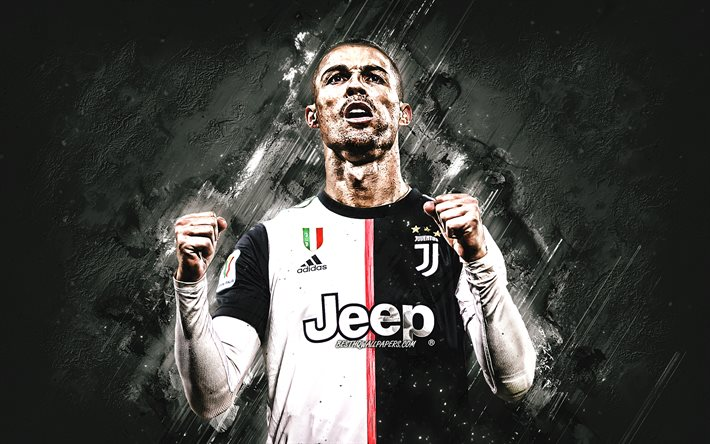 CR7, Cristiano Ronaldo, Juventus FC, portrait, soccer world star, Champions League, Serie A, Italy, football, gray stone background