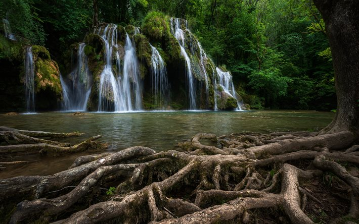 Cascade des Tufs, beautiful waterfall, Cuisance River, Jura, waterfall, forest, green trees, waterfalls, Les Planches-pres-Arbois, France
