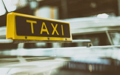 Taxi, yellow taxi sign on the roof, taxi sign, taxi concepts, passenger transportation