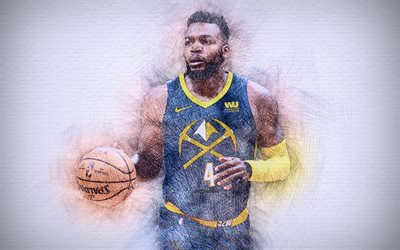 4k, Paul Millsap, gros plan, stars du basket-ball, Denver Nuggets de NBA, illustration, basket-ball, dessin de Paul Millsap