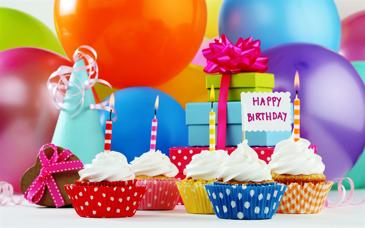 Download Wallpapers Birthday Cupcakes Candles Inflatable