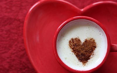 Heart on coffee, latte art Heart, red cup of coffee, love