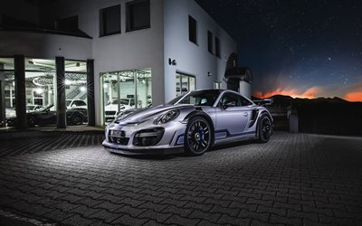 TechArt, tuning, 2017 cars, Porsche 911 Turbo GT Street R, night, supercars, Porsche