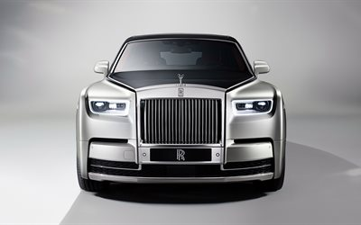 Rolls-Royce Phantom, 2017, Front view, 4k, luxury cars, silver Phantom, Rolls-Royce