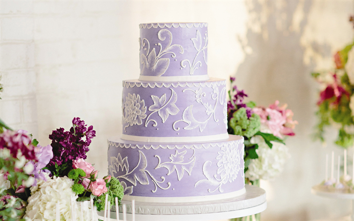 Download wallpapers Purple wedding cake, sweets, wedding, cakes for desktop free. Pictures for