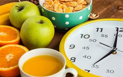 Diet, concepts, weight loss, healthy eating, green apples, breakfast