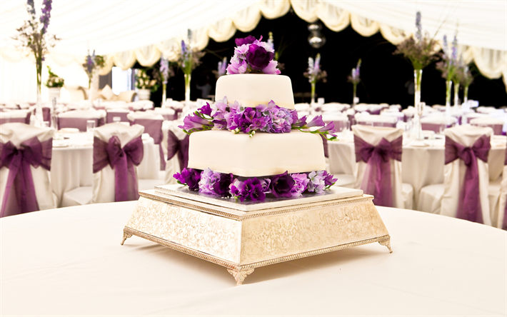 Download Decoration Of Cake : Download wallpapers Wedding cake, purple flowers, wedding ...