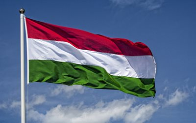 Flag of Hungary on a flagpole, blue sky, Hungary, national symbol, Hungary flag, flag of Hungary