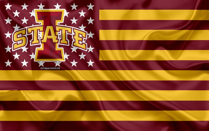 download wallpapers iowa state cyclones american football team creative american flag burgundy yellow flag ncaa ames iowa usa iowa state cyclones logo emblem silk flag american football for desktop free pictures for download wallpapers iowa state cyclones