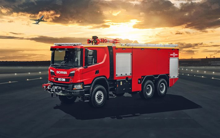 Scania P500 XT, fire truck, rescue services, modern fire engine, Scania LPGRS-range, Scania