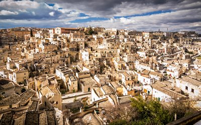 Matera, Basilicata, Panorama of Matera, italian city, morning, old houses, Matera cityscape, Italy