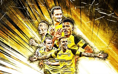 4k, Achraf Hakimi, Paco Alcacer, Jadon Sancho, Mats Hummels, Marco Reus, grunge art, Borussia Dortmund FC, footballers, Bundesliga, football stars, yellow abstract rays, Borussia Dortmund team, creative, soccer, Germany, BVB
