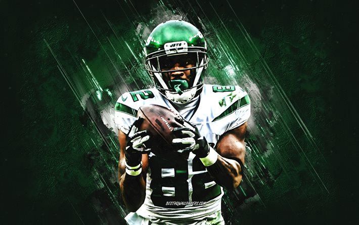 Jamison Crowder, New York Jets, NFL, American football, portrait, green stone background, National Football League, Jamison Wesley Crowder