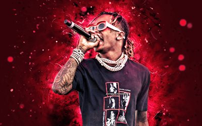 Rich the Kid, 2020, 4k, red neon lights, american rapper, concert, music stars, creative, Rich the Kid with microphone, Dimitri Roger, american celebrity, Rich the Kid 4K