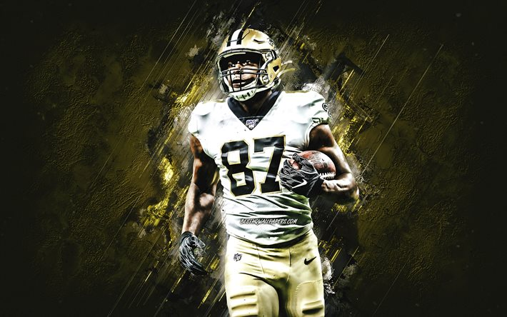 Jared Cook, New Orleans Saints, NFL, american football, golden stone background, creative art, National Football League, Jared Alan Cook