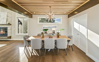 dining room, modern interior design, light wood ceiling, fireplace in the dining room, wooden floor