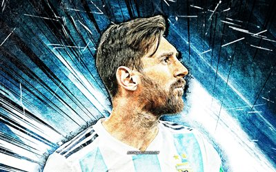 4k, Lionel Messi, grunge art, Argentina national football team, 2020, football stars, blue abstract rays, Leo Messi, soccer, Messi, Argentine National Team, Lionel Messi 4K, footballers