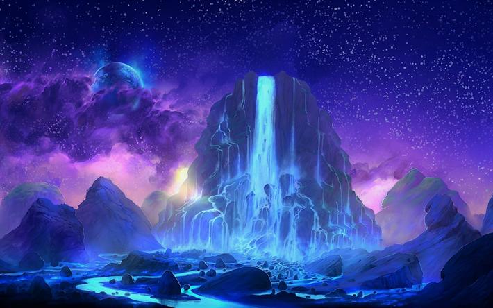Scarica Sfondi Montagna Cascata Notte Cielo Stellato Per Desktop