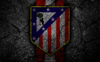 L'Atletico Madrid, le logo, l'art, La Liga, football, club de football, LaLiga, grunge, l'Atletico Madrid FC