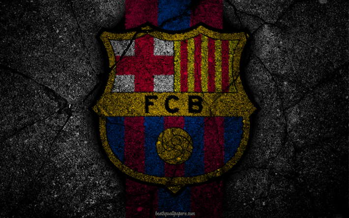 Download Wallpapers Barcelona, Logo, FCB, La Liga, Soccer