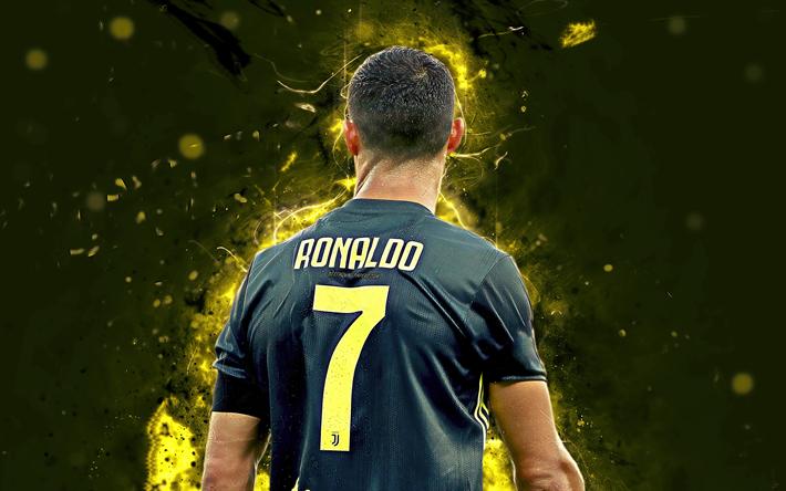 Scarica Sfondi 4k Cristiano Ronaldo Vista Posteriore Nero Uniforme