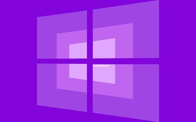 4k, Windows 10 logotipo, mínimo, OS, violeta de fondo, creativo, marcas, Windows 10 violeta logotipo, imágenes, Windows 10