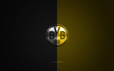Borussia Dortmund, German football club, BVB logo, Bundesliga, yellow-black logo, yellow-black carbon fiber background, football, BVB, Dortmund, Germany, Borussia Dortmund logo