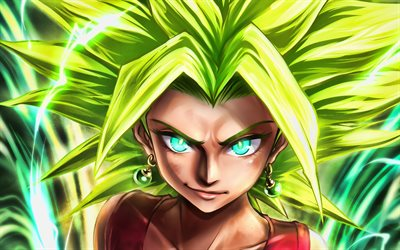 Kefla, manga, DBS characters, Dragon Ball, artwork, Dragon Ball Super, DBS, green lightings, Kefla DBS