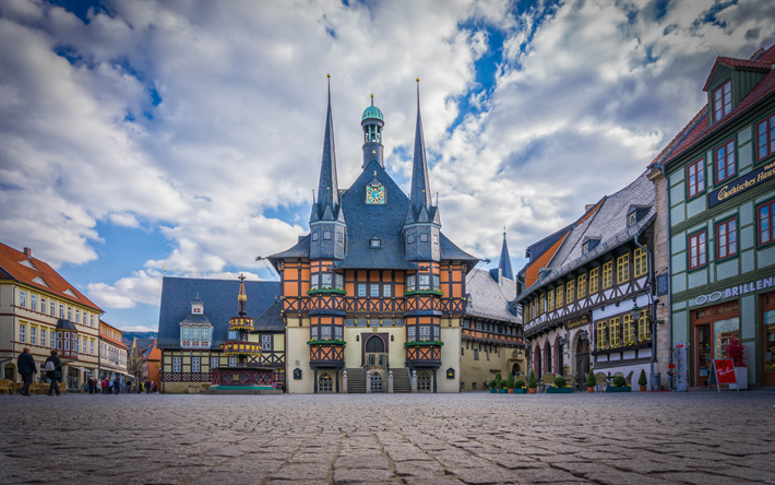 wernigerode, wohltaeterbrunnen, beautiful square, german city, cityscape, saxony-anhalt, germany