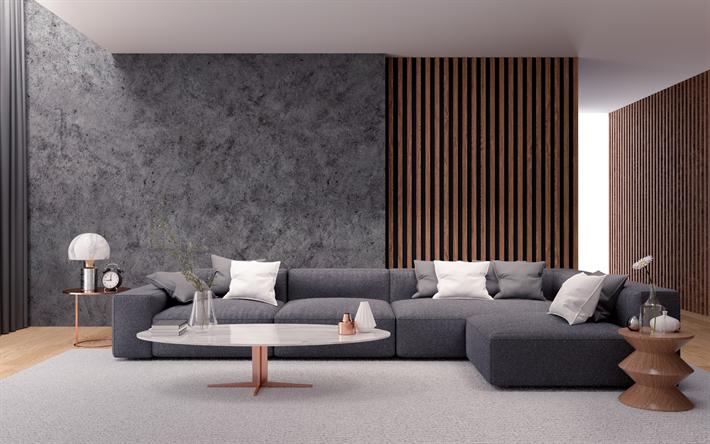 Herunterladen hintergrundbild wohnzimmer, loft-stil, graue ...