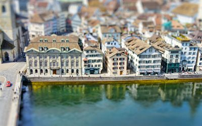 Zurich, tilt-shift, swiss cities, old buildings, street, Switzerland, Europe