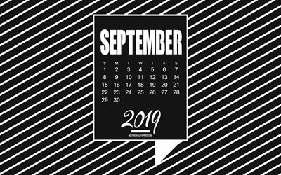 2019 September Calendar, black creative background, minimalism art, Calendar for September 2019, stylish art, September