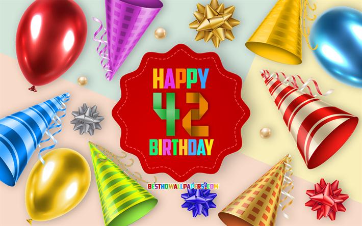 Auguri Buon Compleanno 42 Anni.Scarica Sfondi Felice Di 42 Anni Di Compleanno Biglietti Di