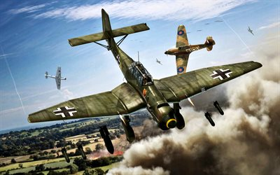 Junkers Ju 87, World War II, german bomber, Ju 87B-1 Stuka, Hawker Hurricane, british fighter, Military aircraft
