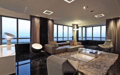 stylish interior design, living room, black marble floor, black wood panels on the walls, modern interior design