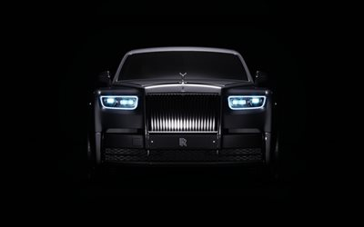 Rolls-Royce Phantom, 4k, minimal, black background, luxury cars
