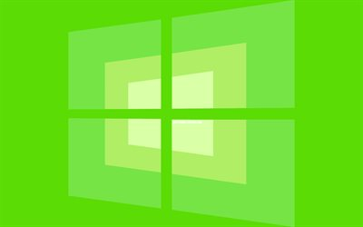4k, Windows 10 logotipo verde, mínimo, OS, fondo verde, creativo, marcas, Windows 10 logotipo, imágenes, Windows 10