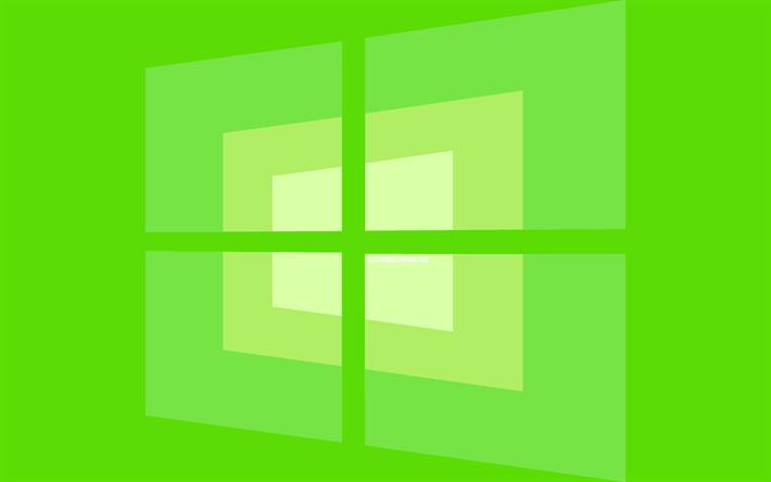 Download Wallpapers 4k Windows 10 Green Logo Minimal Os