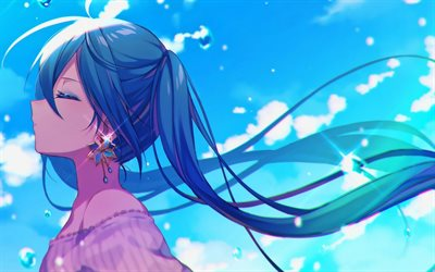 Hatsune Miku, blue sky, Vocaloid, girl with blue hair, Miku Hatsune, Vocaloid Characters, manga