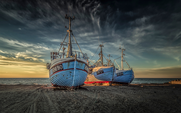 ships on land, coast, sunset, evening, sea, ships, Denmark